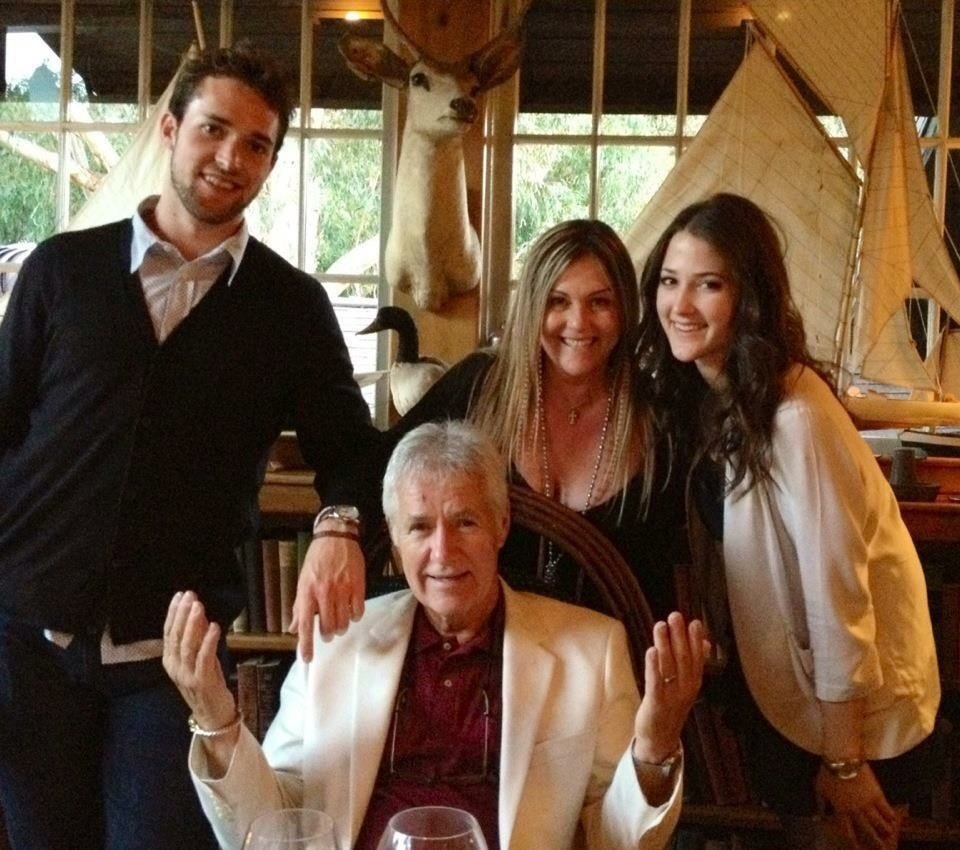 Alex Trebek with his kids at his birthday party, Saddle Peak Lodge, Malibu, 2012